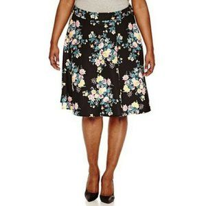 Ashley Nell Tipton 2X A-Line Black floral skirt